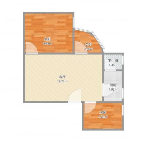 江滨大厦3室1厅1卫1厨45.00㎡户型图