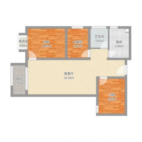 大唐世家2号中间户型3室2厅1卫1厨108.00㎡户型图