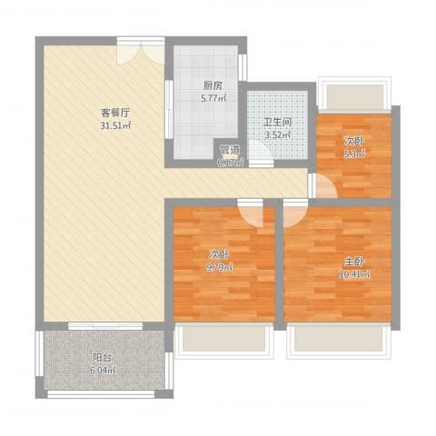 莱蒙水榭春天3室2厅1卫1厨106.00㎡户型图