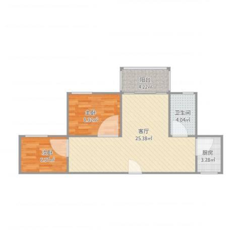 河畔花园2室1厅1卫1厨70.00㎡户型图