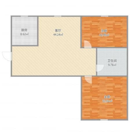 馨安苑2室1厅1卫1厨135.00㎡户型图