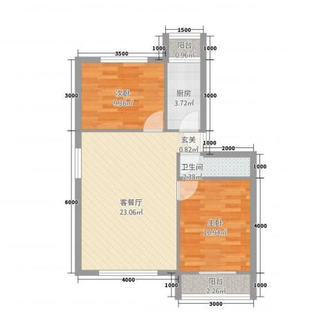 龙腾苑四区2室2厅1卫1厨95.00㎡户型图