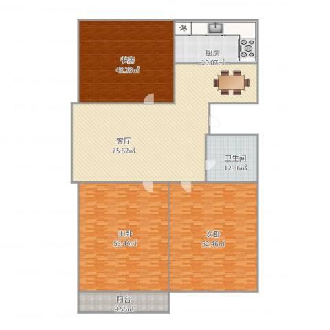 馨安苑3室1厅1卫1厨346.00㎡户型图