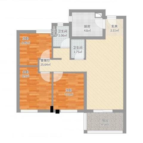 万科城花�苑3室2厅2卫1厨90.00㎡户型图