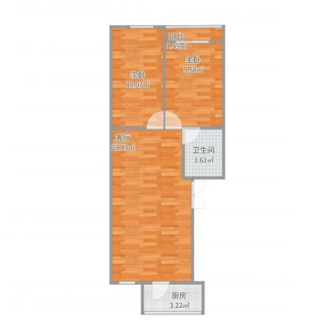 天泉山庄2室1厅1卫1厨69.00㎡户型图
