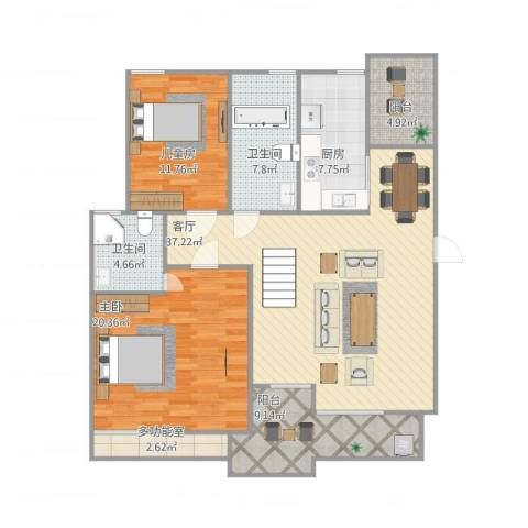 阳光绿城2室1厅2卫1厨143.00㎡户型图