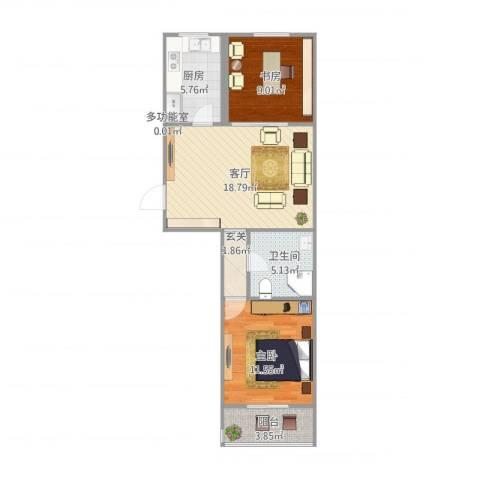 西高润生园2室1厅1卫1厨76.00㎡户型图