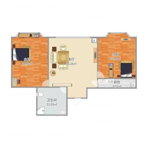 枫桥河畔2室1厅1卫1厨132.00㎡户型图
