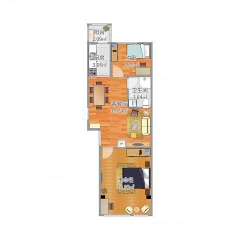 天薇丽景园1室2厅1卫1厨75.00㎡户型图