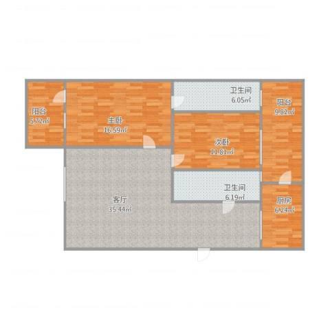 润联大厦2室1厅2卫1厨131.00㎡户型图
