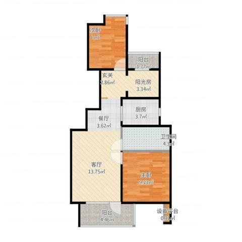 新江湾佳苑2室2厅1卫1厨89.00㎡户型图