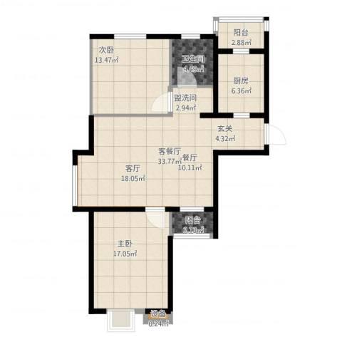 通用富馨佳苑2室2厅1卫1厨114.00㎡户型图