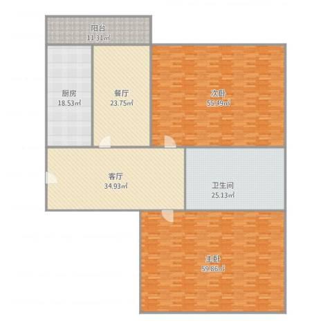 海创谷歌里2室2厅1卫1厨299.00㎡户型图