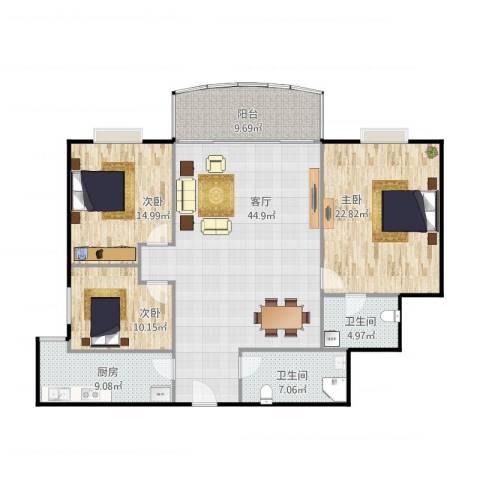 大洲城市花园3室1厅2卫1厨164.00㎡户型图