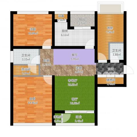 惠灵顿国际社区河庭花苑3室2厅2卫1厨116.00㎡户型图