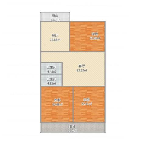 英雄山路单位宿舍3室2厅2卫1厨190.00㎡户型图