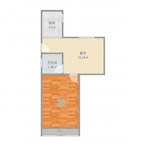 鲁班大楼1室1厅1卫1厨57.00㎡户型图