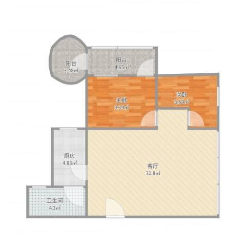 怡海花园2室1厅1卫1厨88.00㎡户型图