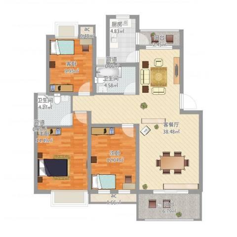 万科北区3室2厅2卫1厨143.00㎡户型图