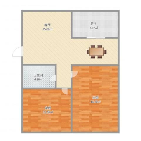 海源丽都2室1厅1卫1厨90.00㎡户型图