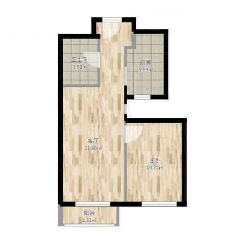 融泽家园1室1厅1卫1厨62.00㎡户型图
