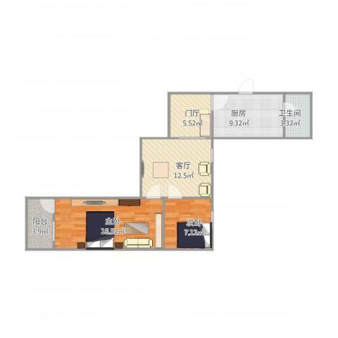 沪东新村2室1厅1卫1厨79.00㎡户型图