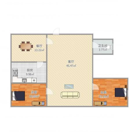 南华城2室2厅1卫1厨128.00㎡户型图