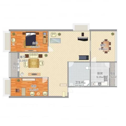 丰光江景2室2厅1卫1厨172.00㎡户型图