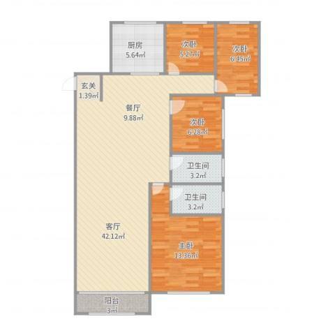 张杨花苑16号01室4室1厅2卫1厨165.00㎡户型图