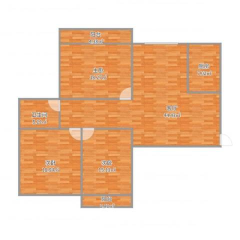 兴业新村3室1厅1卫1厨154.00㎡户型图