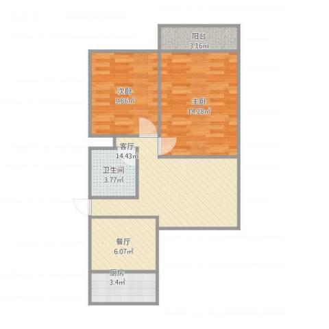 大学南苑2室2厅1卫1厨75.00㎡户型图