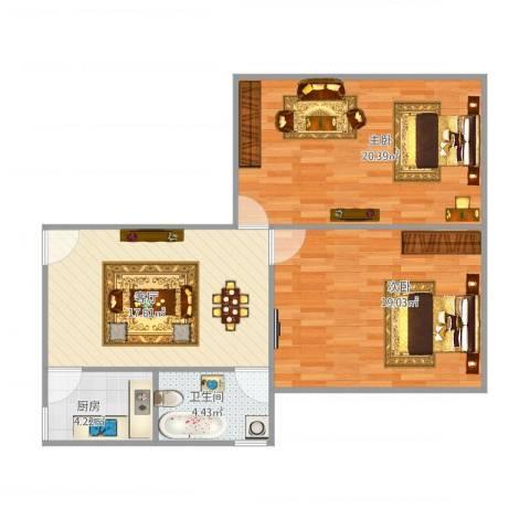 浦东南路4401弄小区2室1厅1卫1厨88.00㎡户型图
