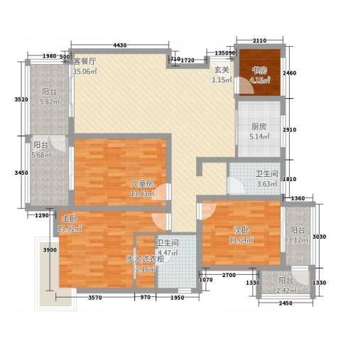 中节能生态岛4室2厅2卫1厨125.00㎡户型图