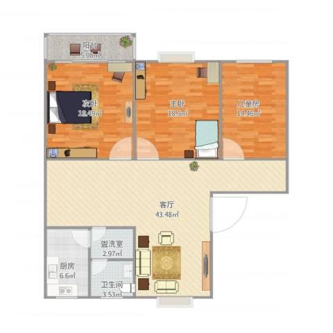 双湖公寓122㎡3室3厅1卫1厨152.00㎡户型图