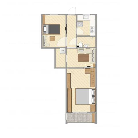 石榴园北里小区2室1厅1卫1厨55.00㎡户型图