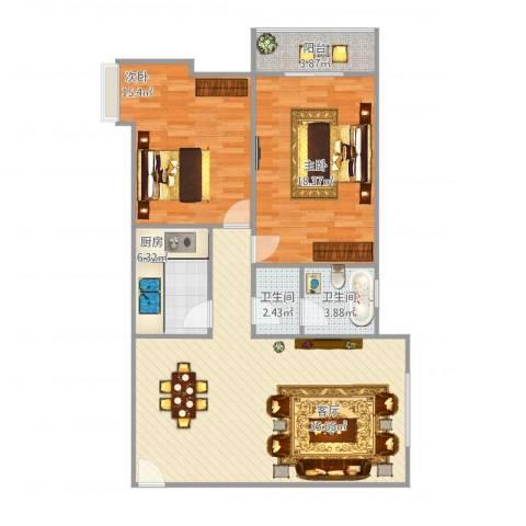 铁路小区2室1厅2卫1厨115.00㎡户型图