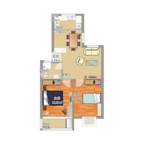 金典名筑2室2厅2卫1厨73.00㎡户型图