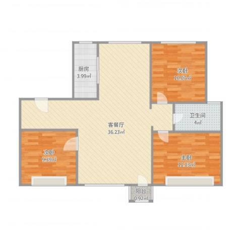 弘基书香园二期3室2厅1卫1厨102.00㎡户型图