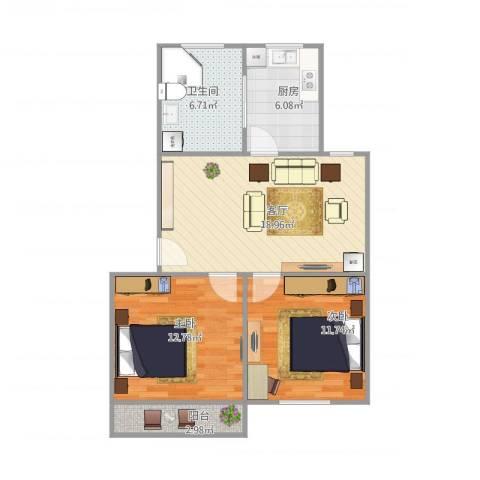 晶波坊2室1厅1卫1厨63.86㎡户型图