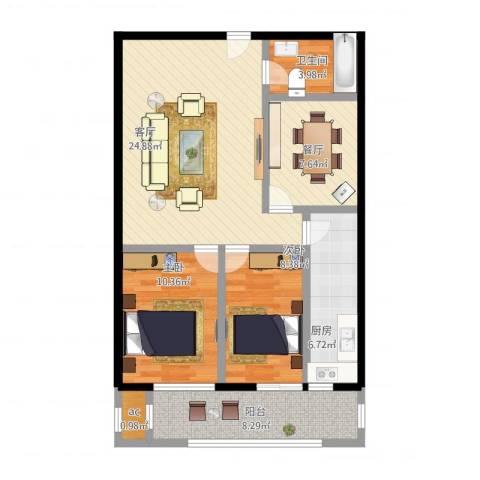 天龙华鹤(天下儒寓)2室2厅2卫1厨102.00㎡户型图