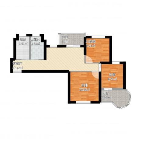 恒高家园3室2厅1卫1厨85.00㎡户型图