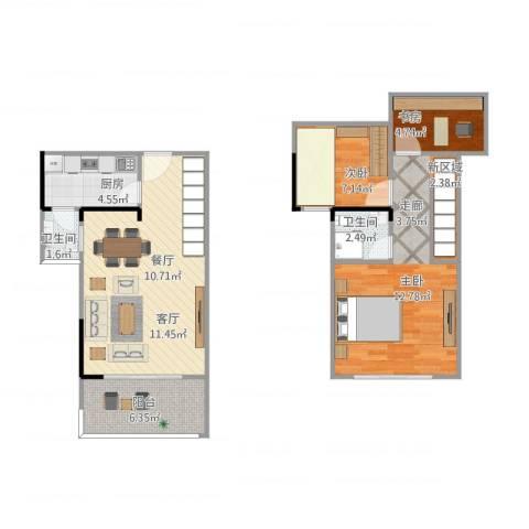 松苑雅居2室1厅2卫1厨93.00㎡户型图