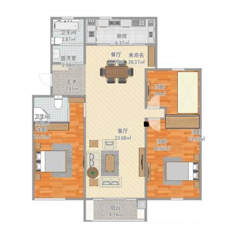 新华一村2室2厅2卫1厨131.00㎡户型图