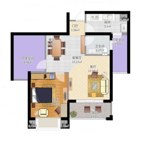 星光苑1室2厅1卫1厨88.00㎡户型图