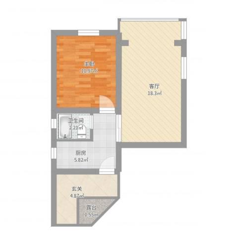 德州一村1室1厅1卫1厨65.00㎡户型图