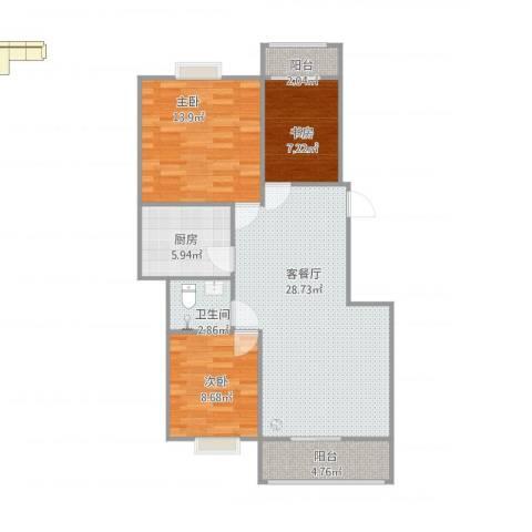 金秋花园三期3室2厅1卫1厨100.00㎡户型图
