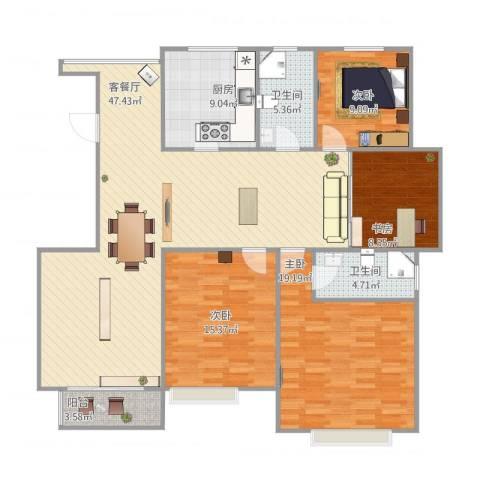 名人国际花园4室2厅2卫1厨164.00㎡户型图