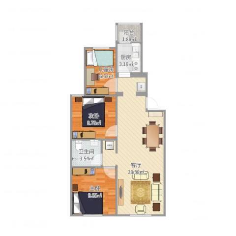 安德馨居-任3室1厅1卫1厨85.00㎡户型图