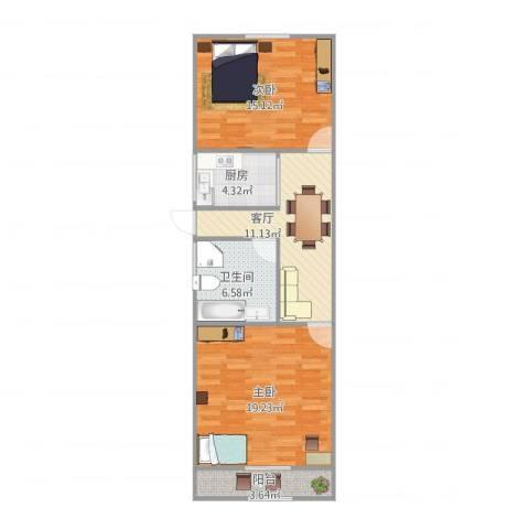 双山小区2室1厅1卫1厨65.00㎡户型图