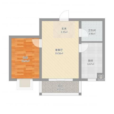 鑫丰华凯鑫城1室2厅1卫1厨65.00㎡户型图